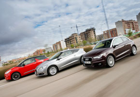 Audi A1 vs Citroën DS3 y Honda CR-Z